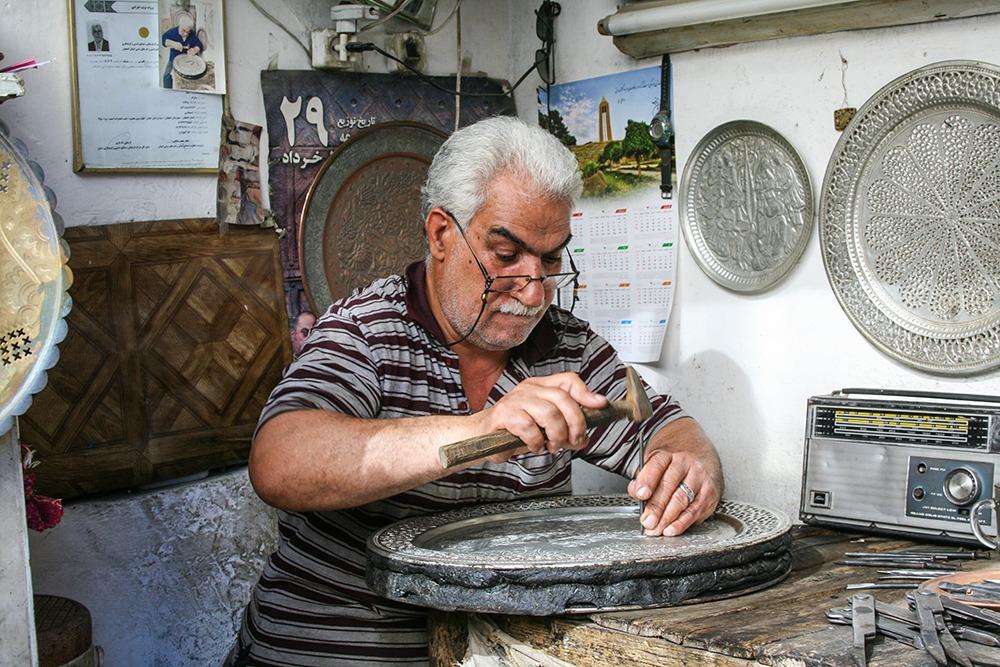 Arbeiten auf dem Basar in Isfahan