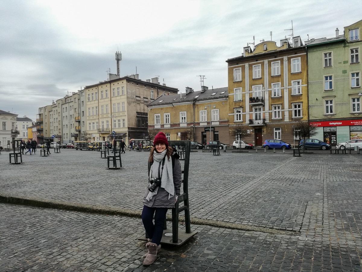 Ghettohelden Platz mit Holocaust Mahnmal in Krakau
