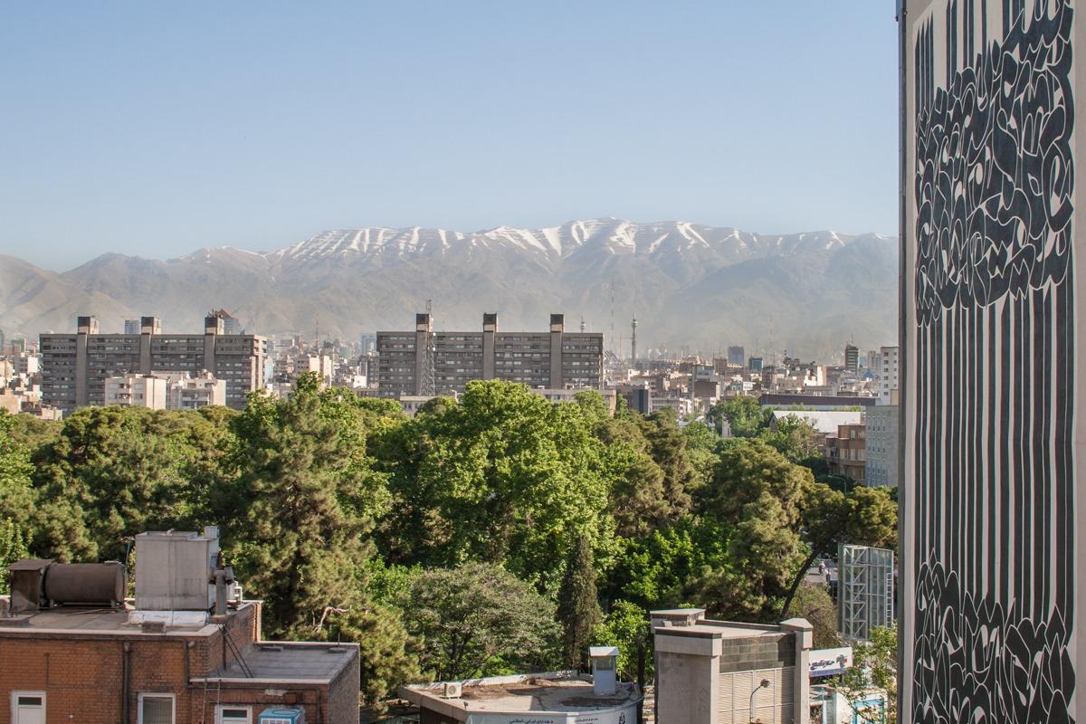 Iran - Teheran - Ausblick von der Hotel Dachterrasse auf die Berge