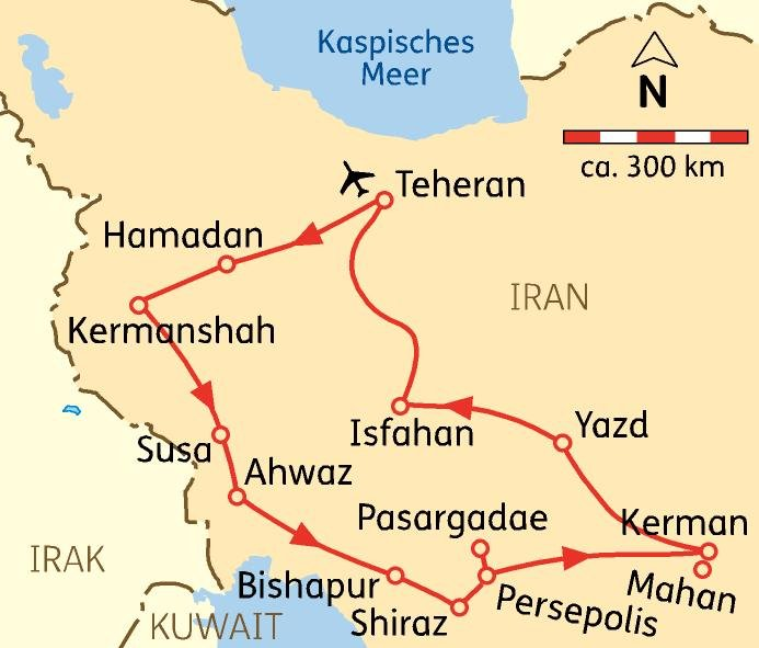 Iran Rundreise - Reiseroute